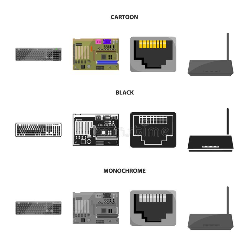 Клавиатура, маршрутизатор, материнская плата и соединитель E иллюстрация вектора