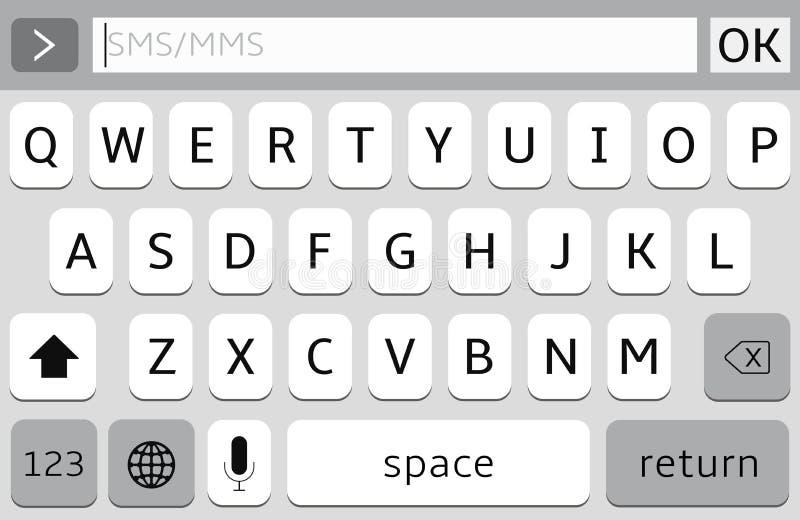 Клавиатура Smartphone, модель-макет вектора кнопочной панели мобильного телефона иллюстрация штока