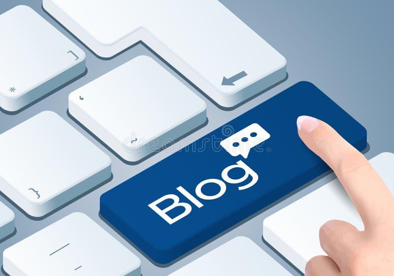 Клавиша на клавиатуре блога ведя блог Нажим пальца кнопка бесплатная иллюстрация