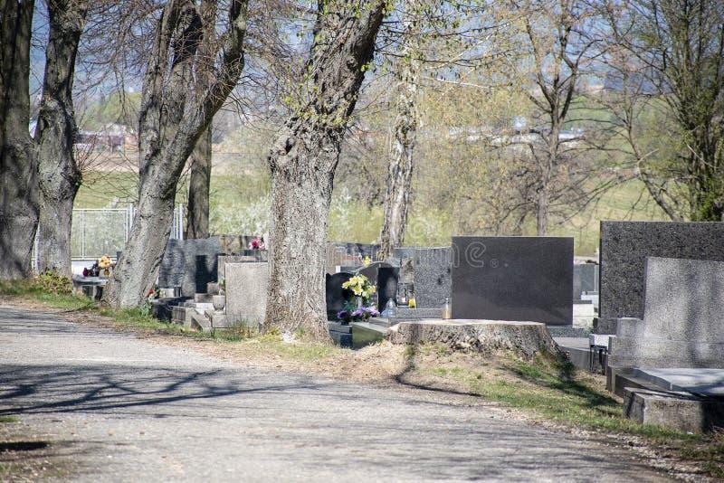 Кладбище в солнечном дне Могилы с цветками и свечами стоковое фото rf