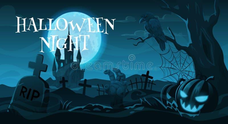 Кладбище или погост, праздник ночи хеллоуина бесплатная иллюстрация