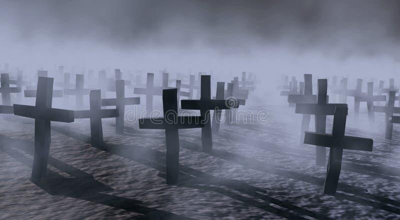 кладбище мистическое иллюстрация вектора