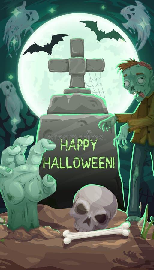 Кладбище на ночи, могильном камне и зомби хеллоуина иллюстрация штока