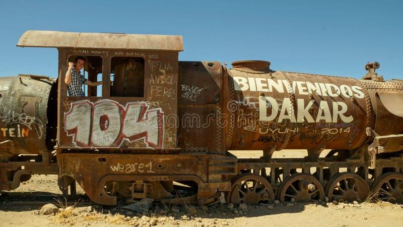 Кладбище поезда Салара de uyuni стоковая фотография