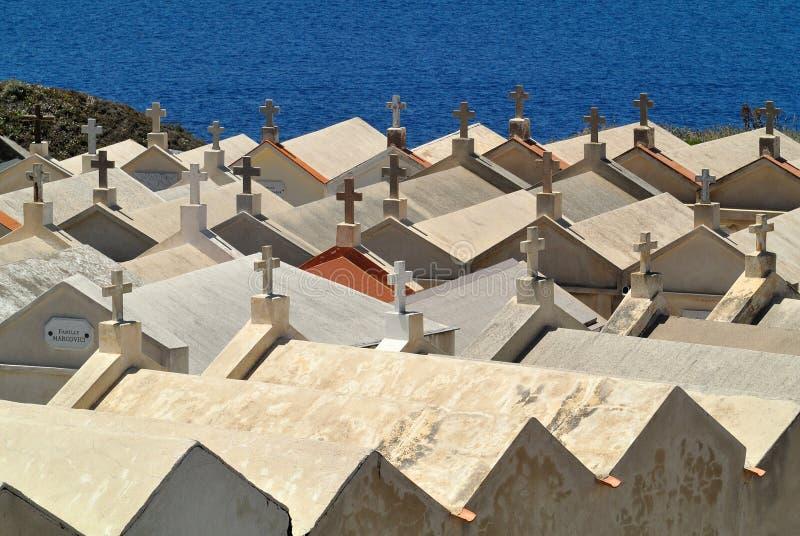 Кладбище Bonifacio, Corse, Франция стоковое фото rf