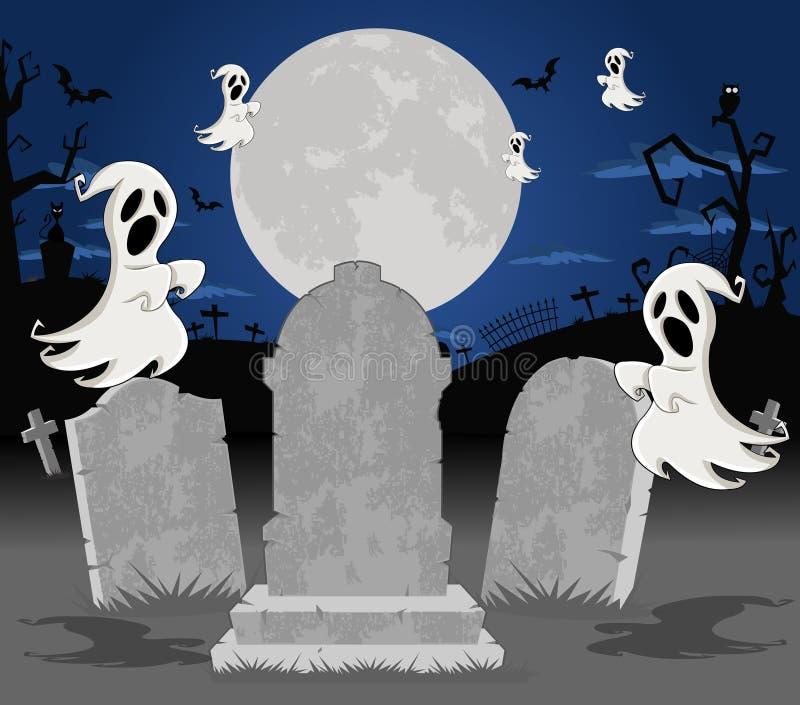 Кладбище Halloween с усыпальницами и привидениями иллюстрация вектора