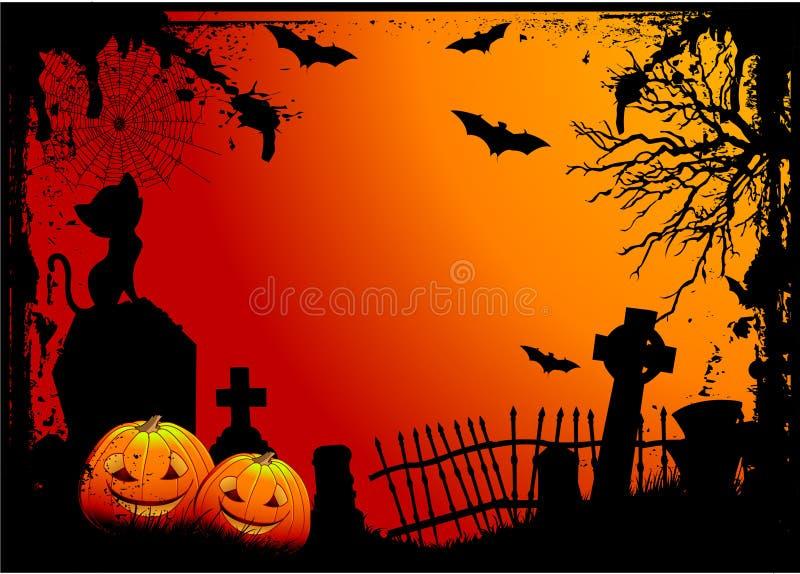 Кладбище Halloween иллюстрация штока