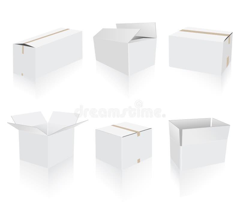 кладет белизну в коробку перевозкы груза собрания иллюстрация вектора