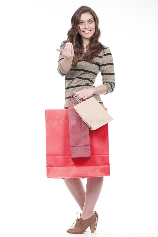 кладет женщину в мешки нося покупкы стоковые фотографии rf