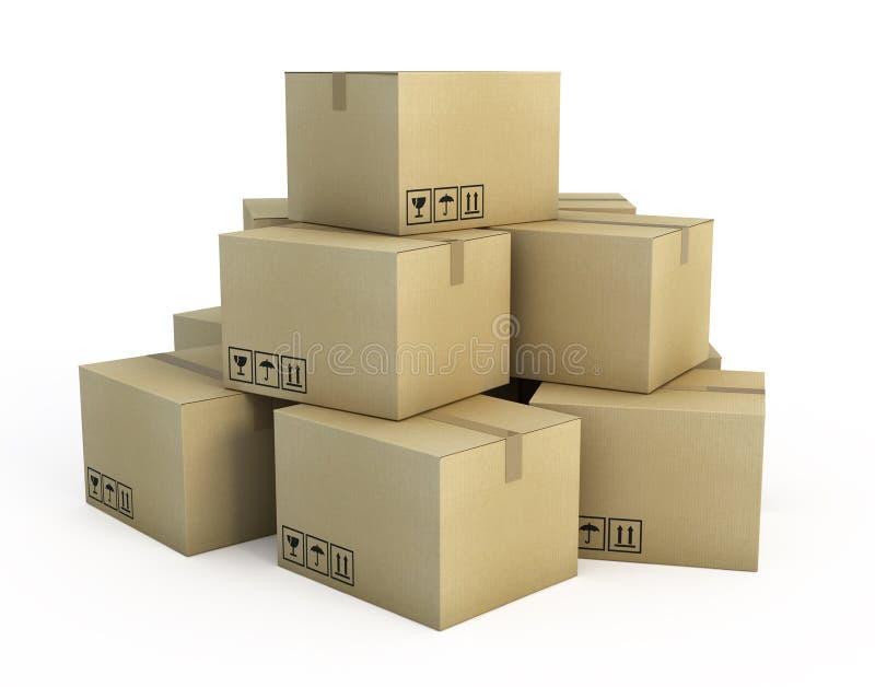 кладет картон в коробку бесплатная иллюстрация