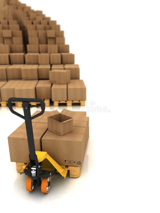 кладет картон в коробку стоковое изображение rf