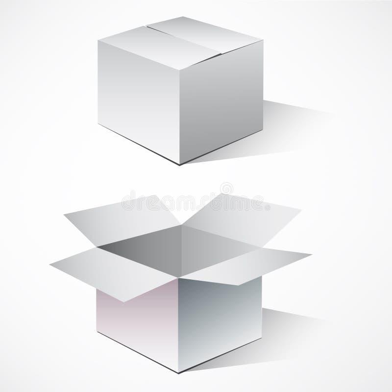 кладет картон в коробку иллюстрация вектора