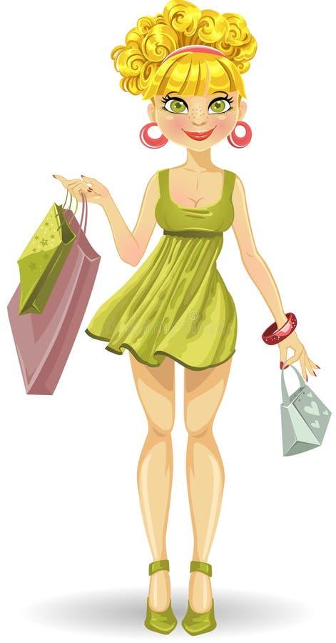 кладет красивейшую белокурую покупку в мешки зеленого цвета девушки иллюстрация вектора