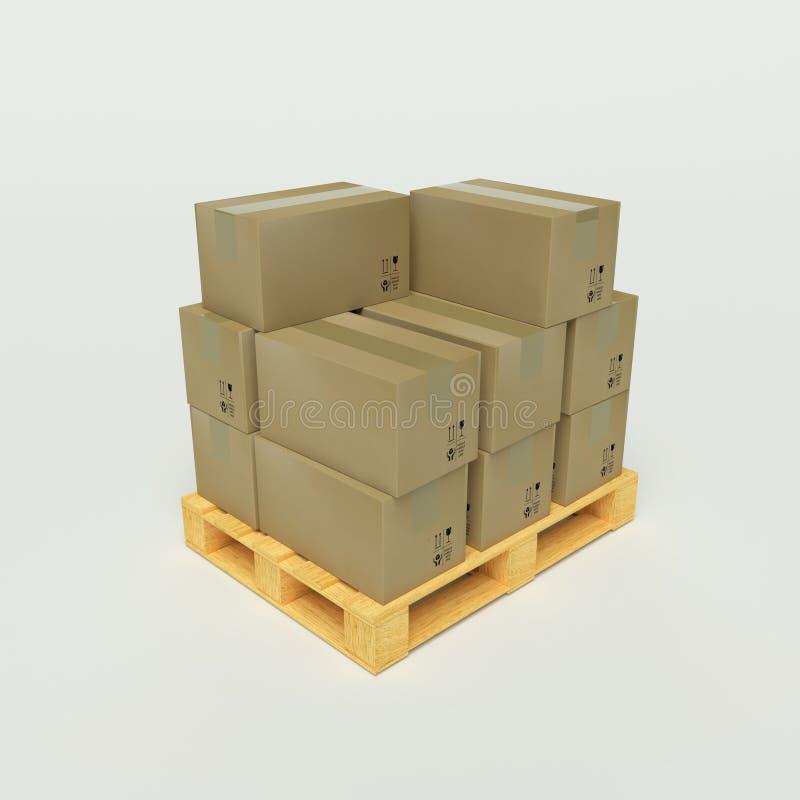 кладет паллеты в коробку картона деревянные иллюстрация вектора