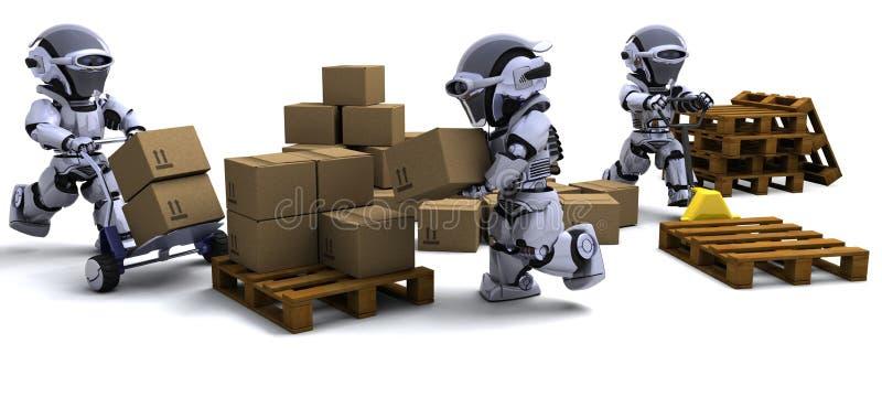 кладет перевозку груза в коробку робота иллюстрация штока