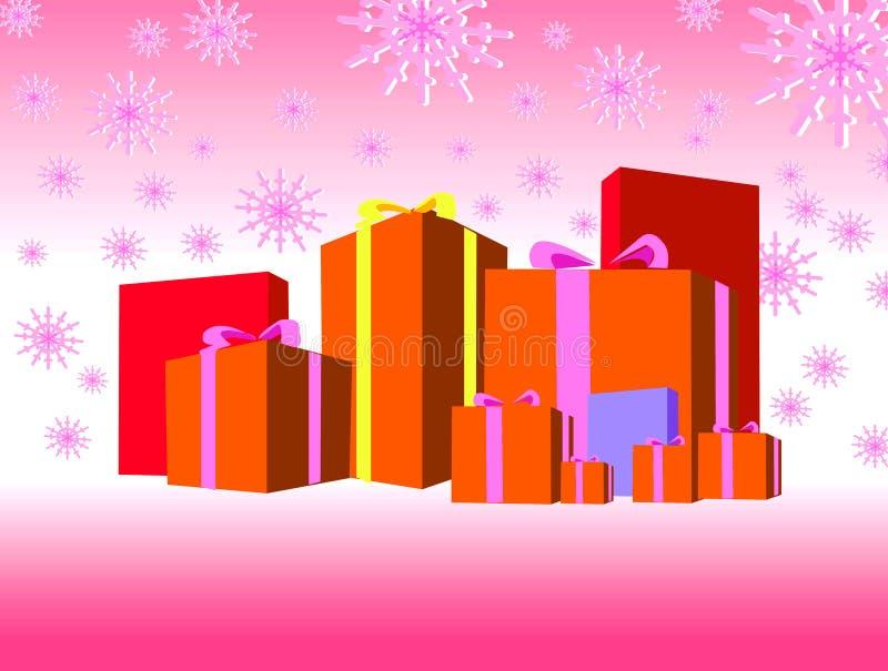 кладет подарки в коробку померанцовые иллюстрация штока