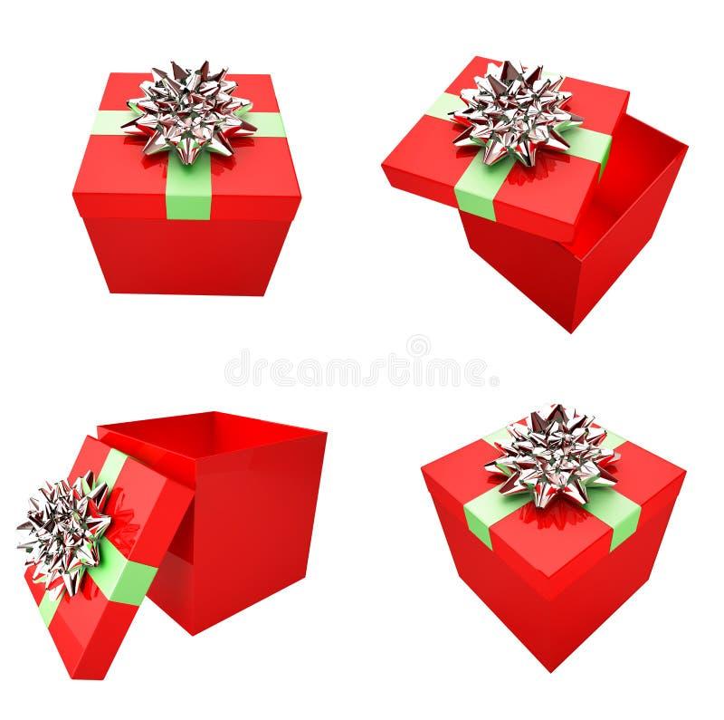 кладет подарок в коробку счастливый иллюстрация вектора