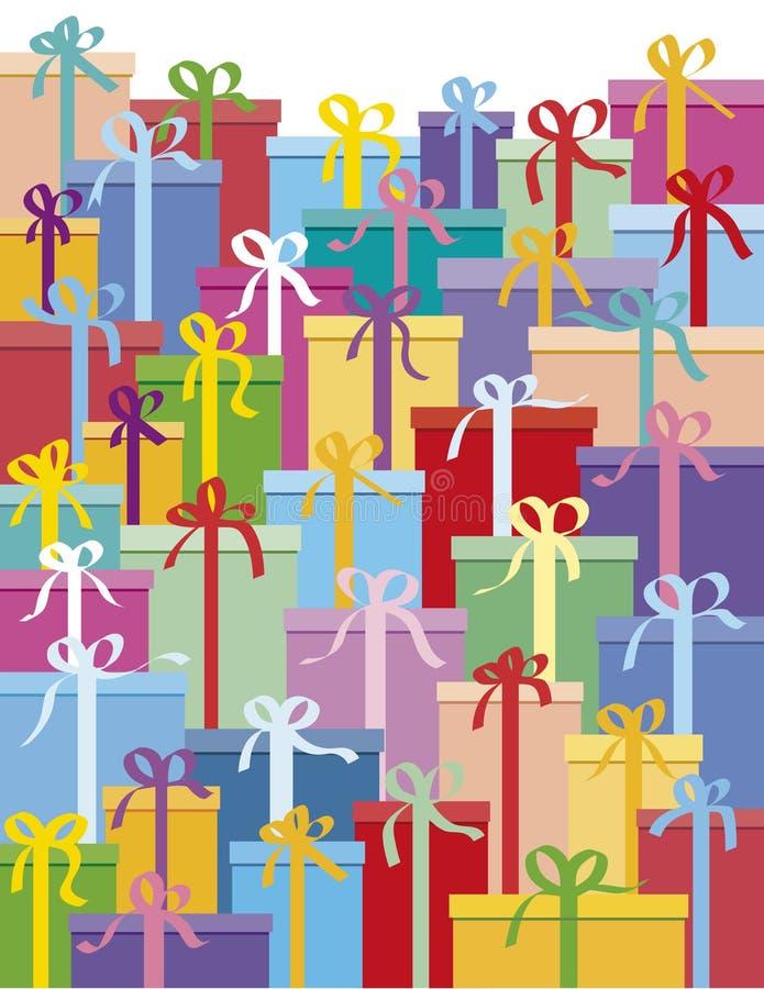 кладет подарок в коробку