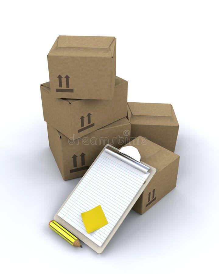 кладет поставку в коробку иллюстрация штока