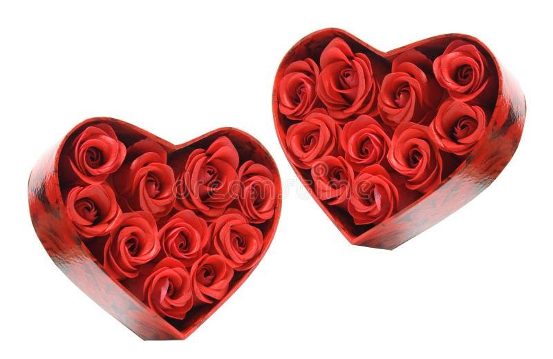кладет розы в коробку красного цвета подарка стоковая фотография rf