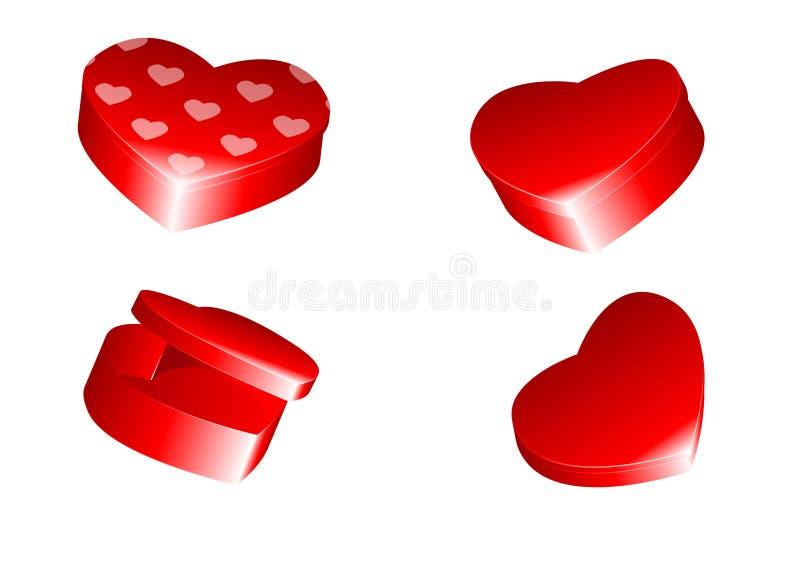 кладет сформированное сердце в коробку иллюстрация вектора