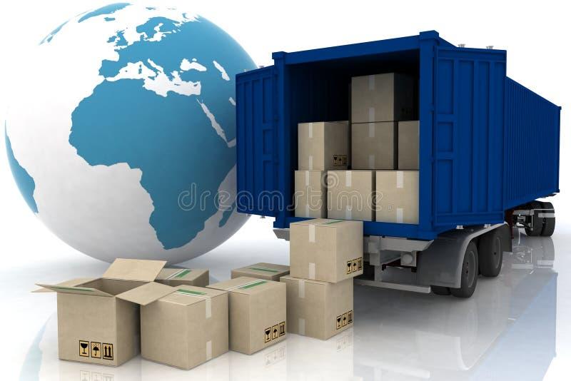 кладет тележку в коробку контейнера иллюстрация штока