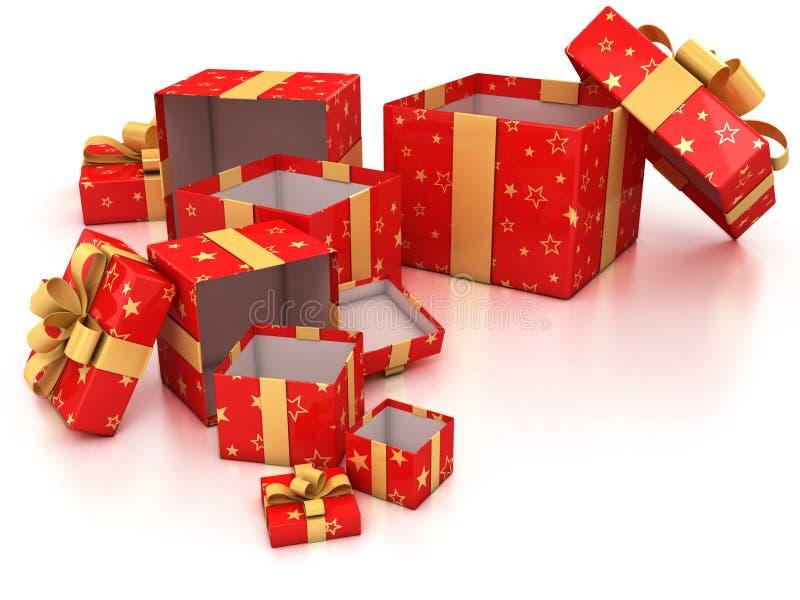 кладет тесемку в коробку подарка золотистую открытую красную иллюстрация вектора