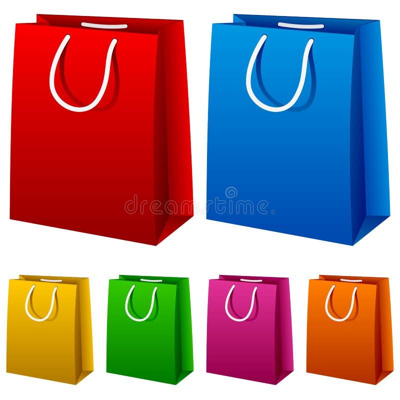 кладет цветастую покупку в мешки комплекта иллюстрация штока
