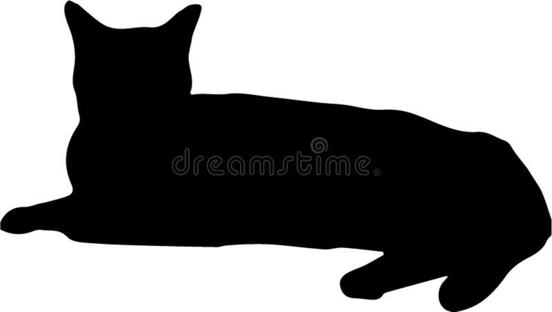Кладущ изолированный силуэт черного кота на белую предпосылку, иллюстрация вектора