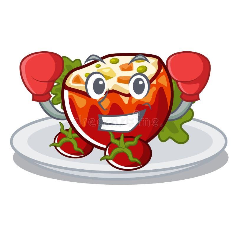 Кладя в коробку заполненные томаты положенные на плиты характера бесплатная иллюстрация