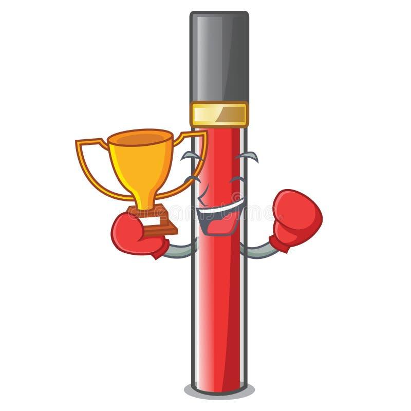 Кладя в коробку лоск губы победителя над таблицей макияжа мультфильма иллюстрация вектора