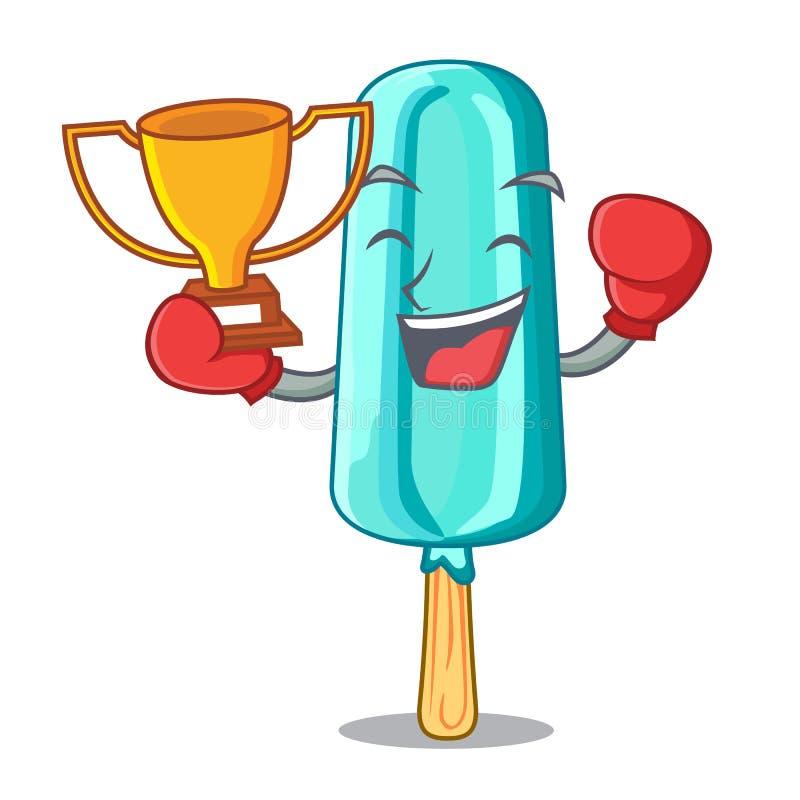 Кладя в коробку мороженое победителя сформировало ручку на талисмане бесплатная иллюстрация