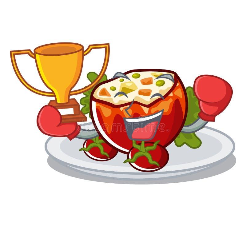 Кладя в коробку победитель заполнил томаты в форме мультфильма иллюстрация штока
