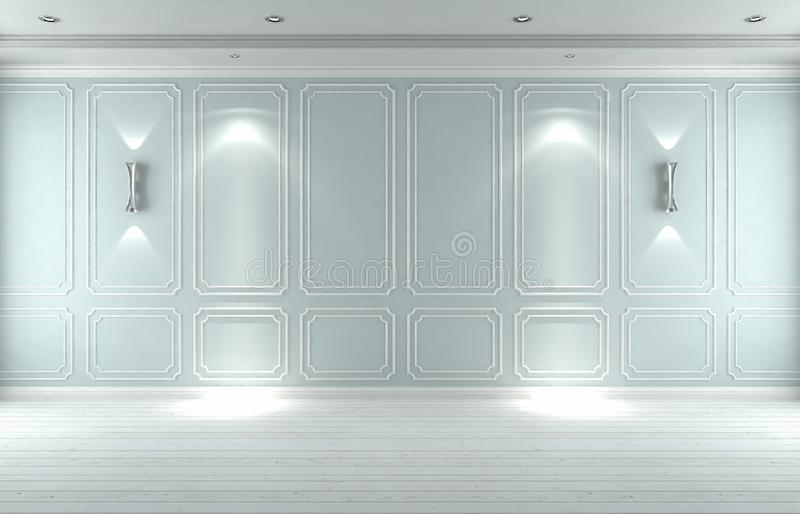 Классика пустой белой голубой студии внутренняя, 3D представляет illustrat 3D стоковое изображение
