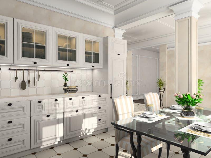 классицистическая кухня мебели иллюстрация вектора