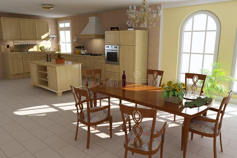 классицистическая обедая комната кухни иллюстрация штока