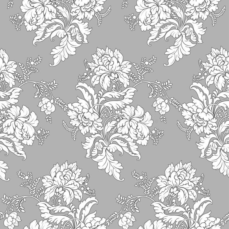 классицистическая флористическая картина безшовная иллюстрация штока