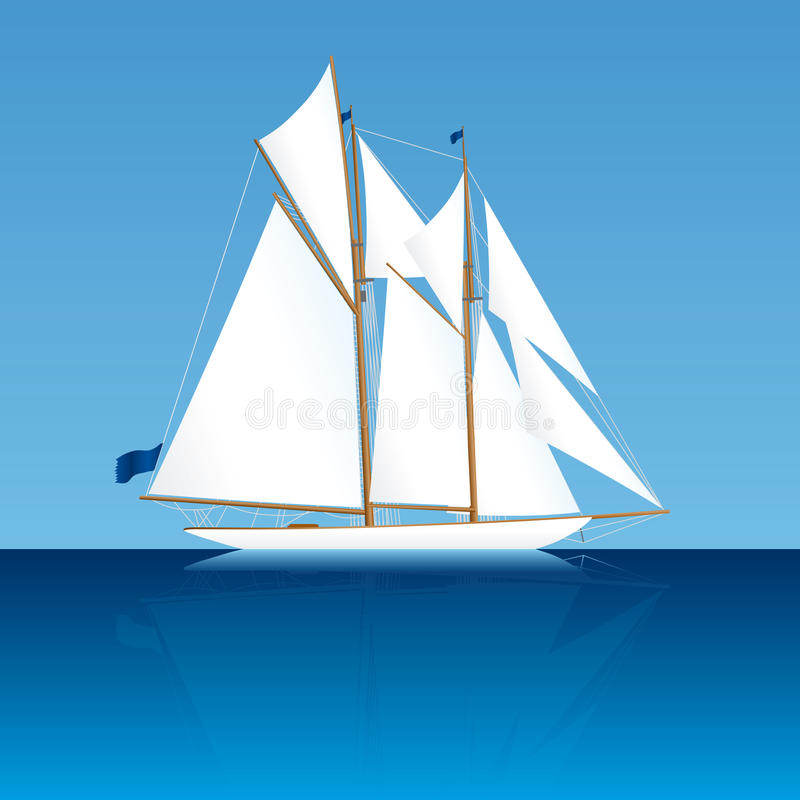 классицистическая яхта sailing иллюстрация штока