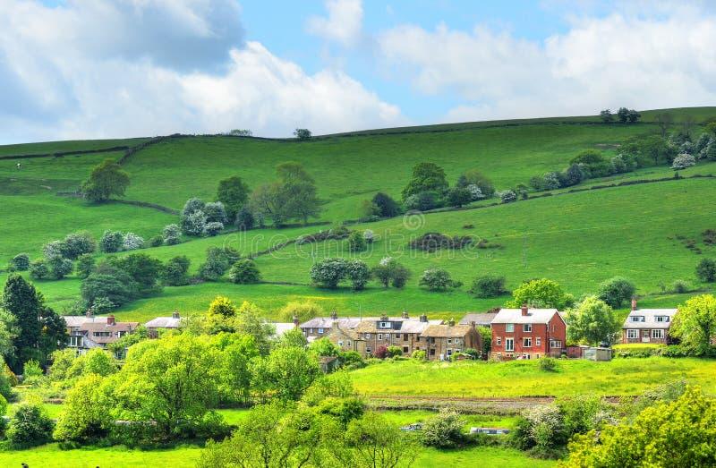 Классицистический великобританский ландшафт на пиковом заречье около Манчестера стоковая фотография rf