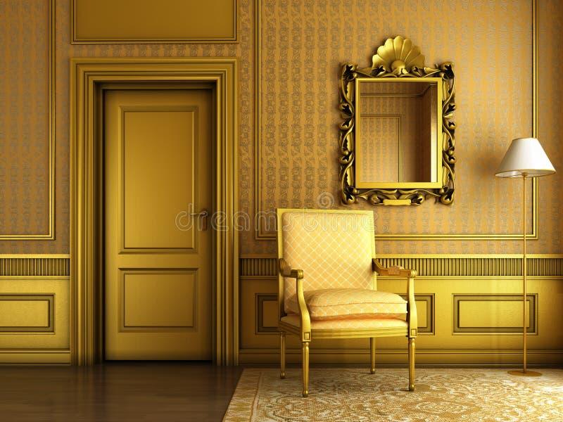 классицистический золотистый интерьер иллюстрация вектора