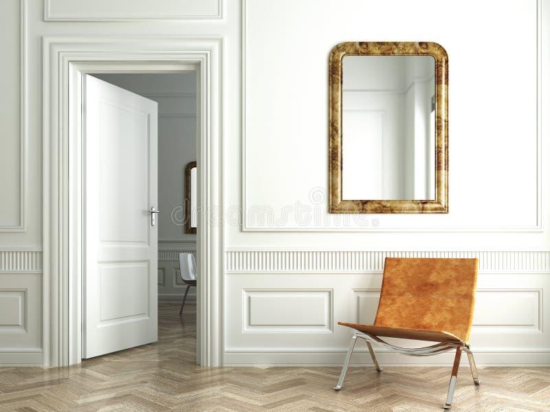 классицистический интерьер отражает белизну whit иллюстрация вектора