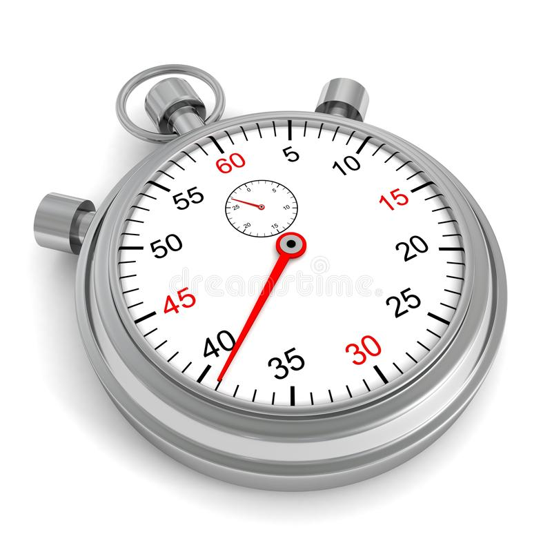 Классицистический ретро серебряный секундомер на белой предпосылке стоковое фото