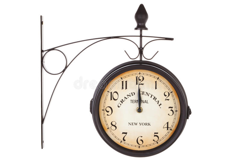 классицистическими isoalted часами белизна станции стоковая фотография