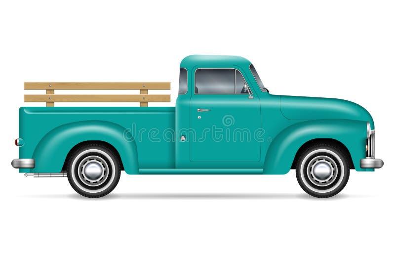 Классическая иллюстрация вектора грузового пикапа иллюстрация вектора