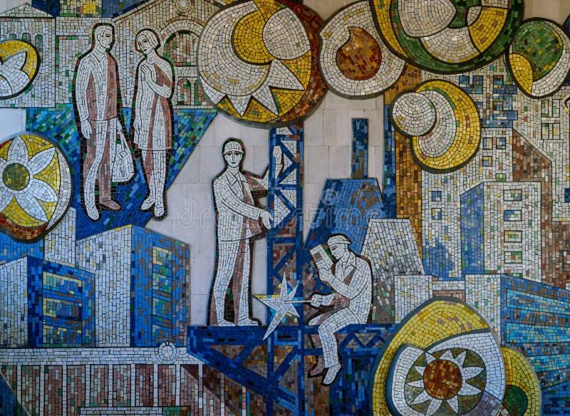 Классическая иллюстрация Советского Союза на стене показывая коммунизм и жизнь стоковое изображение rf