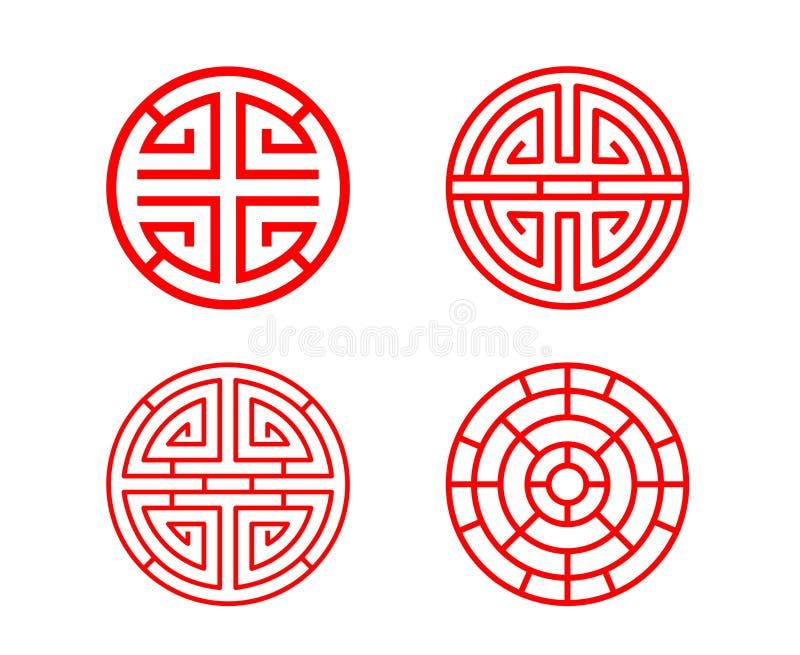 Классическая китайская оконная рама круга в векторе иллюстрация штока