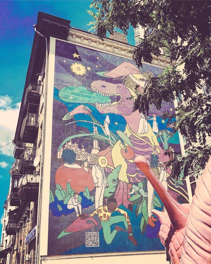 Классическая красочная настенная роспись в Kyiv или Киеве Украине стоковая фотография