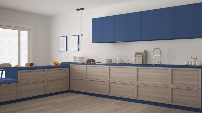 Классическая кухня с деревянными деталями и полом партера, minimalis иллюстрация вектора