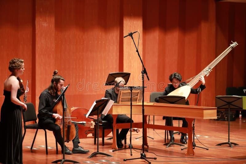 классическая музыка Скрипачи в согласии Зашнурованный, violinistCloseup музыканта играя скрипку во время симфонизма стоковое изображение rf