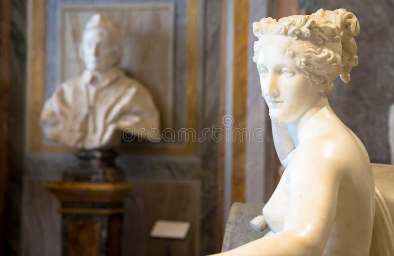 Классическая статуя Паулины Bonaparte, сделанная Антонио Canova стоковое изображение